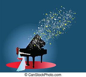 pianoforte, donna, musica, gioco