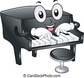 pianoforte, grande, mascotte