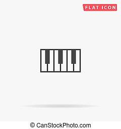pianoforte, icona, chiavi, vettore, appartamento