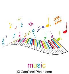 pianoforte, musica, chiavi, manifesto, note