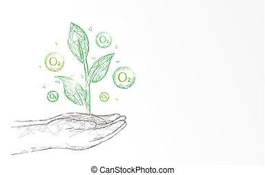 pianta, concetto, ossigeno, forma, punto, linee, mano, fondo., triangoli, ecologia, connettere, rete