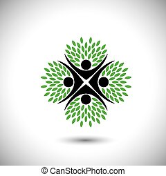 pianta, concetto, persone, eco, -, albero, vettore, abbracciare, cerchio, o