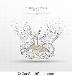 pianta, filo, digitalmente, cornice, giovane, poly, mano, fondo., basso, presa a terra, disegnato, bianco