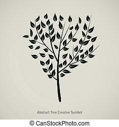 pianta, illustration., natura, astratto, albero, vettore, disegno, simbolo
