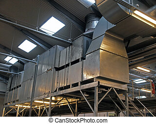 pianta, industriale, fabbrica, hvac, ventilazione