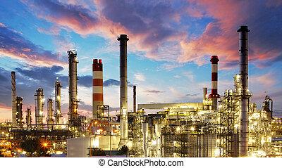 pianta, olio, gas, industria, -, fabbrica, raffineria, prodotto petrochimico, crepuscolo
