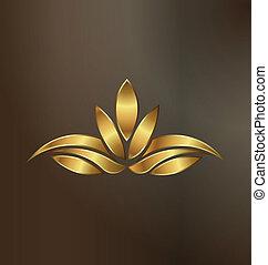 pianta, oro, loto, immagine, lusso, logotipo