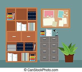 pianta, ufficio, avviso, gabinetto, asse, file, conservato vaso, mobilia