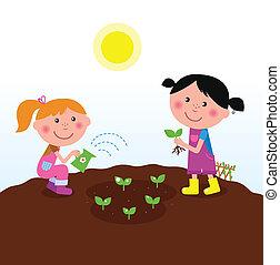 piantatura, bambini, giardino, piante