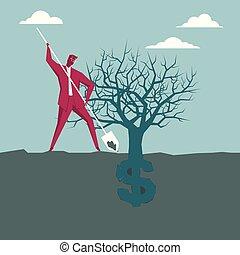 piantatura, ricchezza, blue., segno., dollaro, fondo