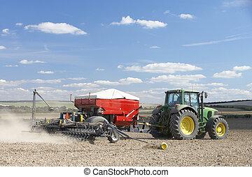 piantatura, seme, trattore, campo