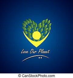 piante, concetto, &, eco, albero, -, persona, vettore, natura, amare