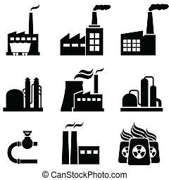 piante, costruzioni, industriale, potere, fabbriche