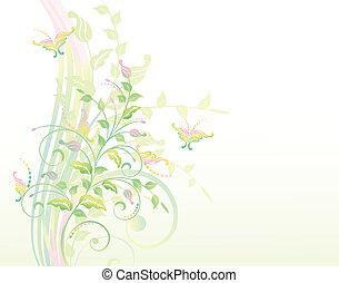 piante, floreale, b, fondo