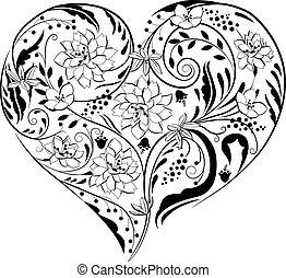 piante, forma cuore, nero, fiori bianchi