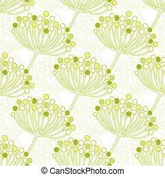 piante, modello, seamless, vettore, sfondo verde, geometrico, bolla