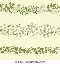 piante, set, sfondi, tre, seamless, modelli, verde, orizzontale