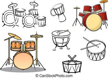 piante, strumenti, tamburo, percusiion