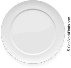 piastra, bianco, cena, vuoto