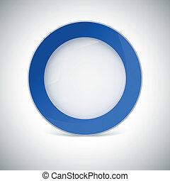 piastra blu, bianco, border.