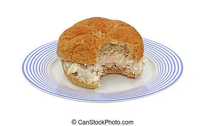 piastra blu, panino pollo, strisce