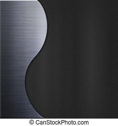 piastra, carbonio, metallo, alluminio, fibra