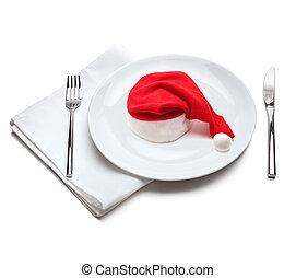 piastra, claus, cappello, rosso, santa