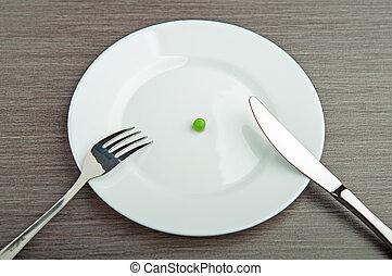piastra, concept., dieta, uno, bianco, pisello, vuoto