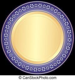 piastra decorativa, violet-golden