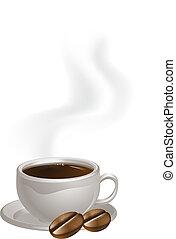 piastra, fagioli caffè, tazza
