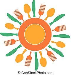 piastra, forchetta, sole, organizzato, giallo, coltello, come