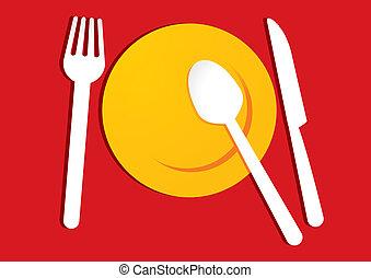 piastra, giallo, sfondo rosso
