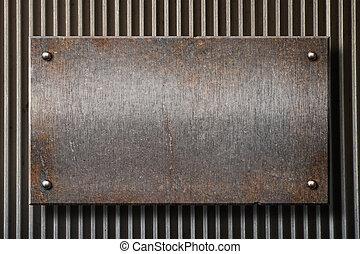 piastra, grunge, sopra, metallo, arrugginito, sfondo griglia