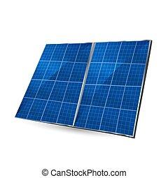 piastra, isolato, illustrazione, fondo., vettore, solare, bianco, collector.