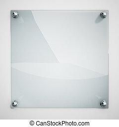 piastra, legato, parete, metallo, vetro, protezione, rivets., bianco