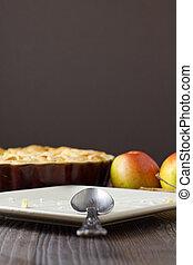 piastra, mela, la, torta, finito, modo