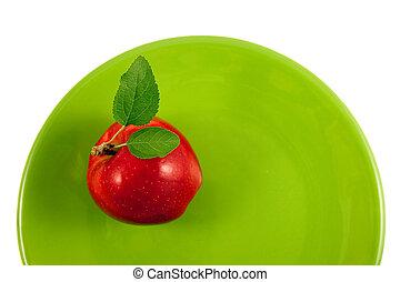 piastra, mela, rosso