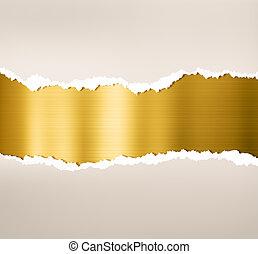piastra, oro, strappato, metallo, carta, fondo