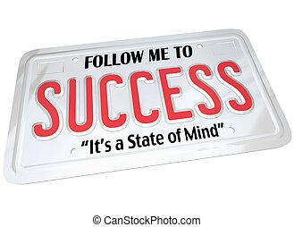 piastra, parola, successo, licenza, riuscito, futuro, seguire