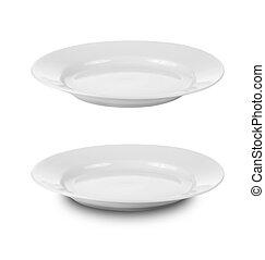 piastra, ritaglio, piatti, isolato, rotondo, includ, percorso, bianco, o