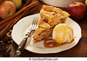 piastra, torta, mela, gelato, pezzo