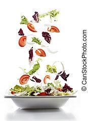 piastra, verdura, cadere, insalata, fresco