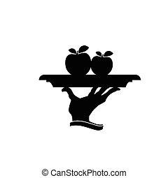piastra, vettore, silhouette, mela, nero