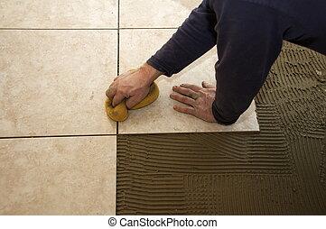piastrella, ceramica, installare
