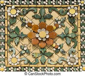 piastrella, floreale, ceramica, vecchio