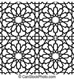 piastrella, islamico, bw, stella