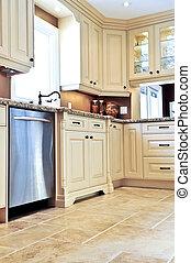 piastrella, moderno, cucina, pavimento