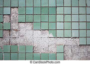 piastrella, vecchio, parete, struttura