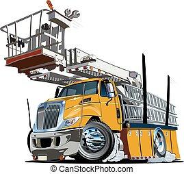 piattaforma, ascensore, camion, cartone animato