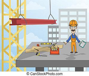 piattaforma, lavoratore costruzione